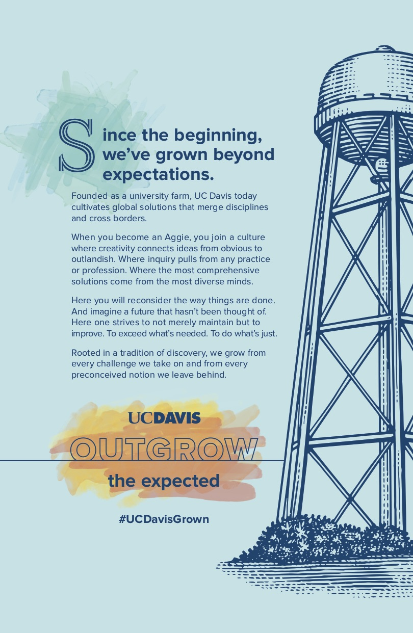 UC Davis Manifesto 2 poster Outgrow the Expected